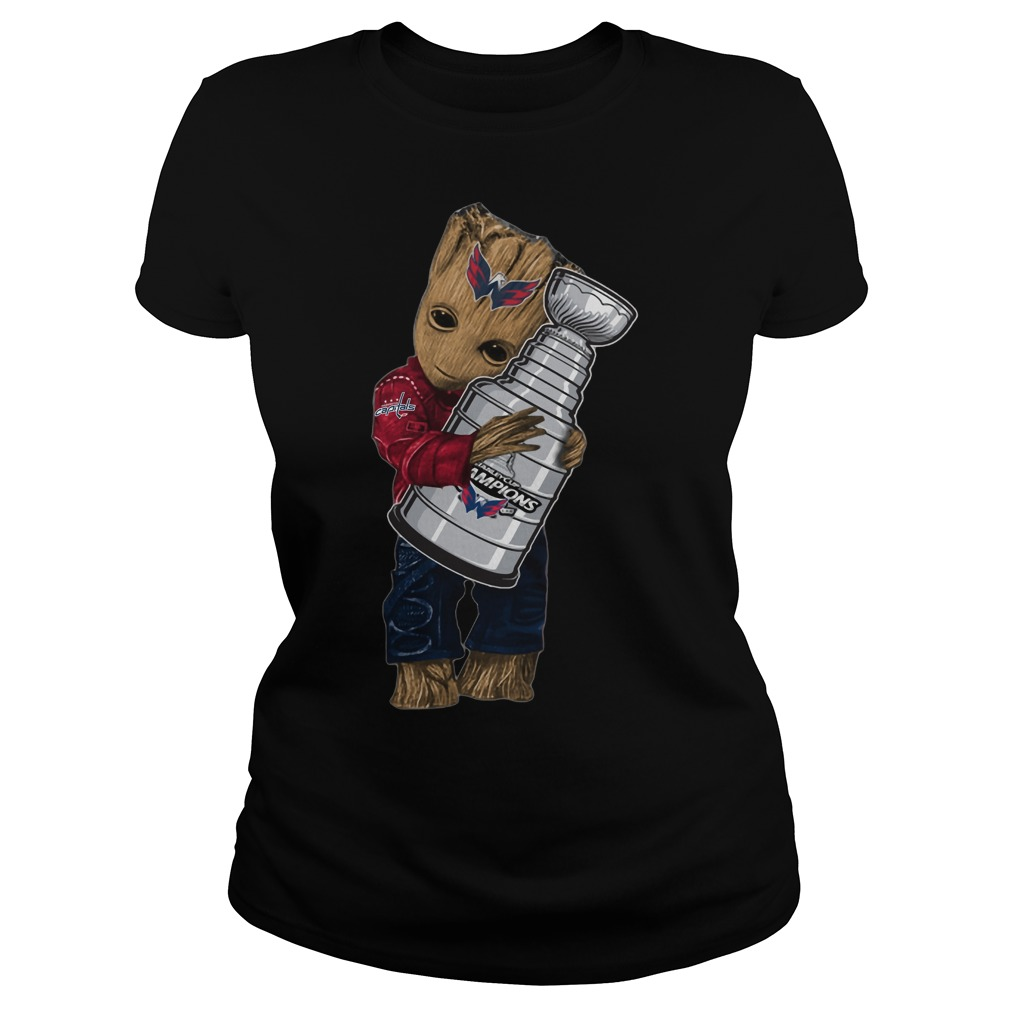 Baby Groot hug NHL Washington Capitals Stanley Cup Ladies tee