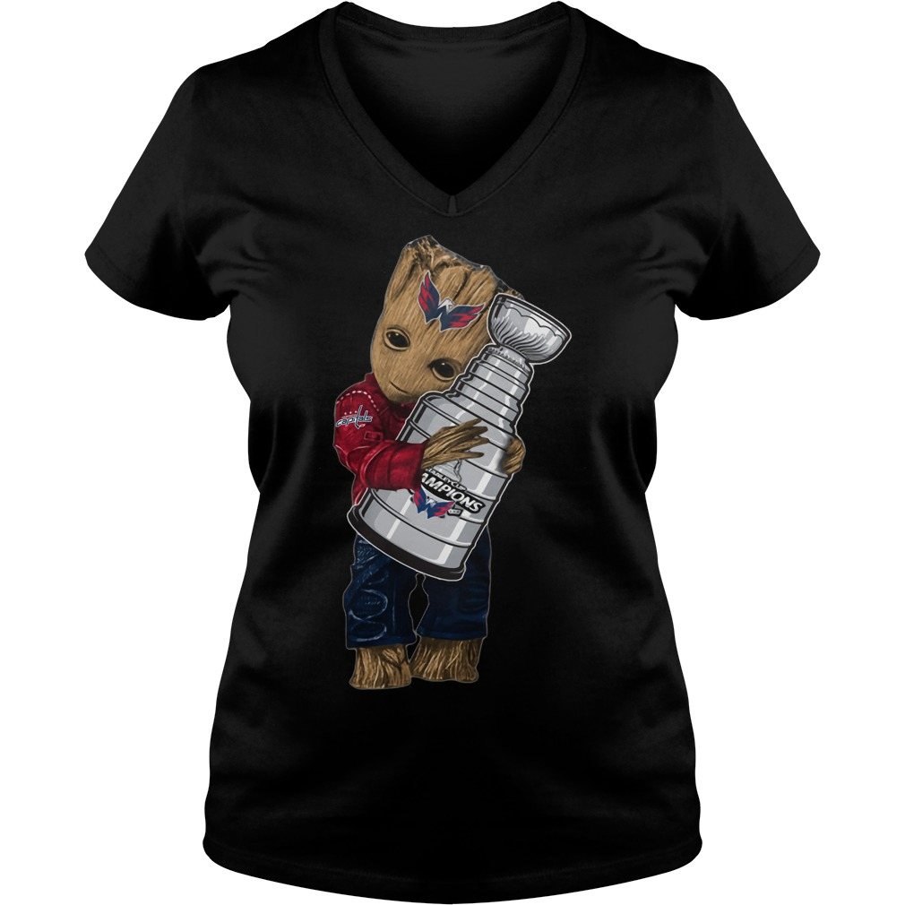 Baby Groot hug NHL Washington Capitals Stanley Cup V-neck t-shirt