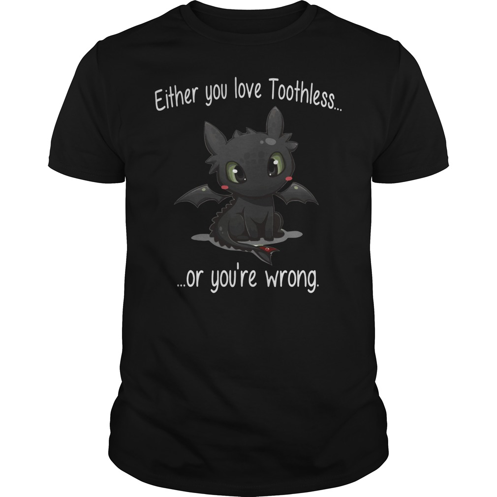 Either you love Toothless or you're Wrong shirt