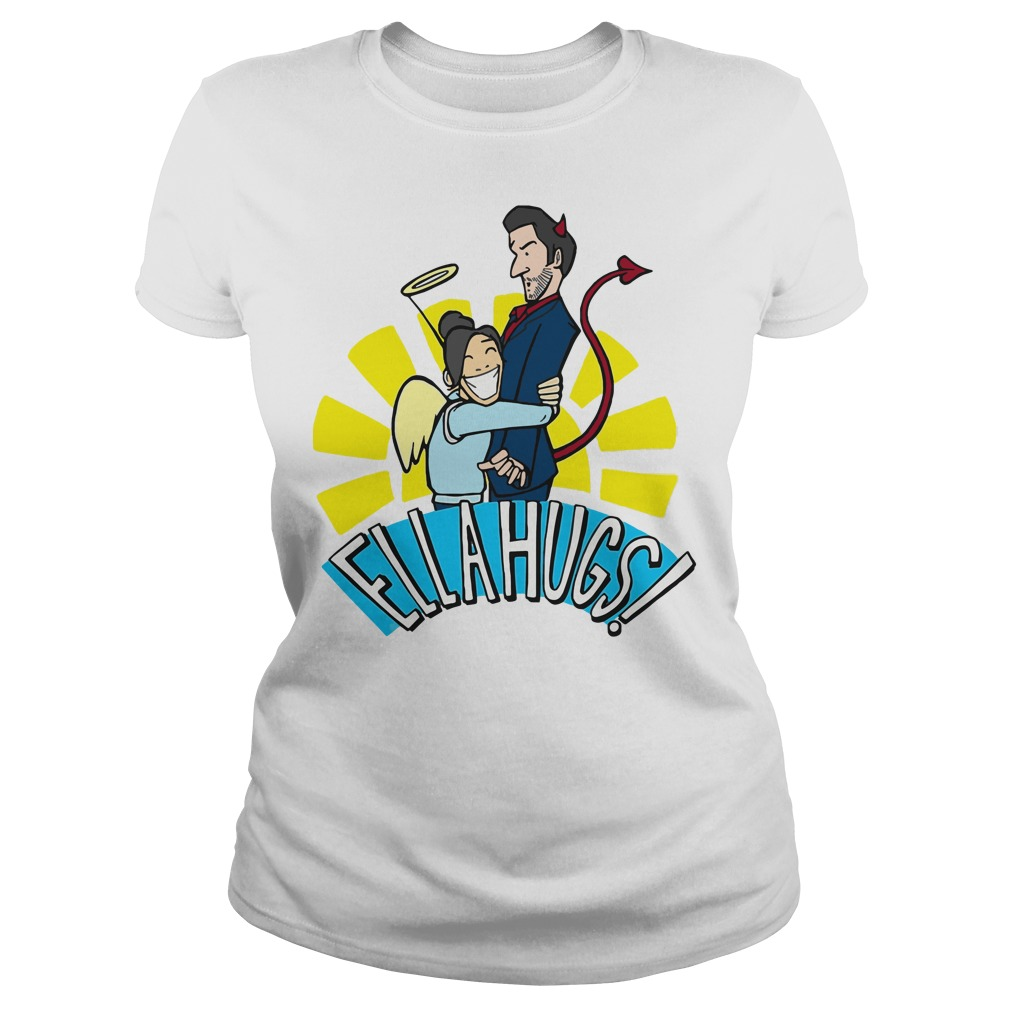 Ella Lopez hugs on Lucifer Ladies tee