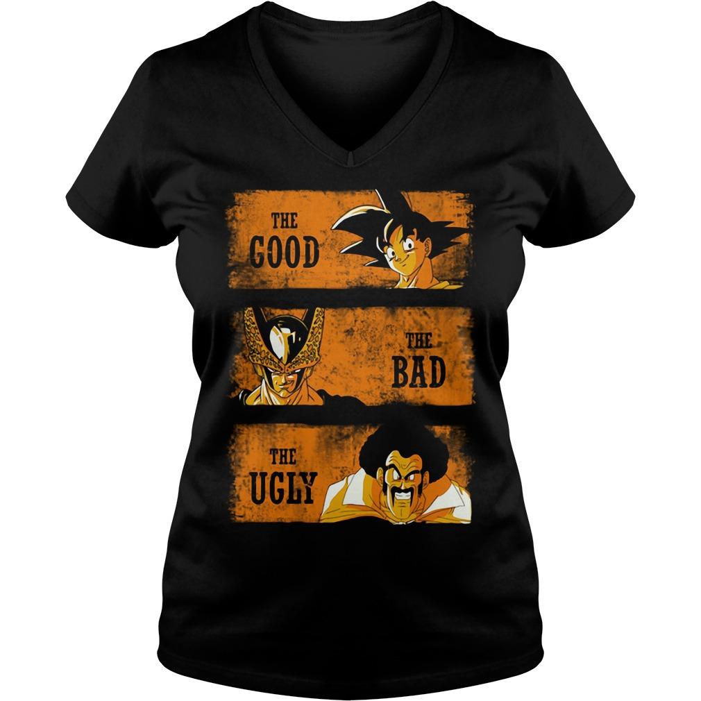 Goku the good - Sorbet the bad - Mr Satan the ugly V-neck t-shirt