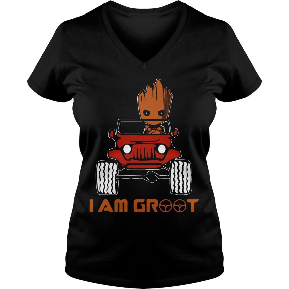 Jeep car I am Groot V-neck t-shirt