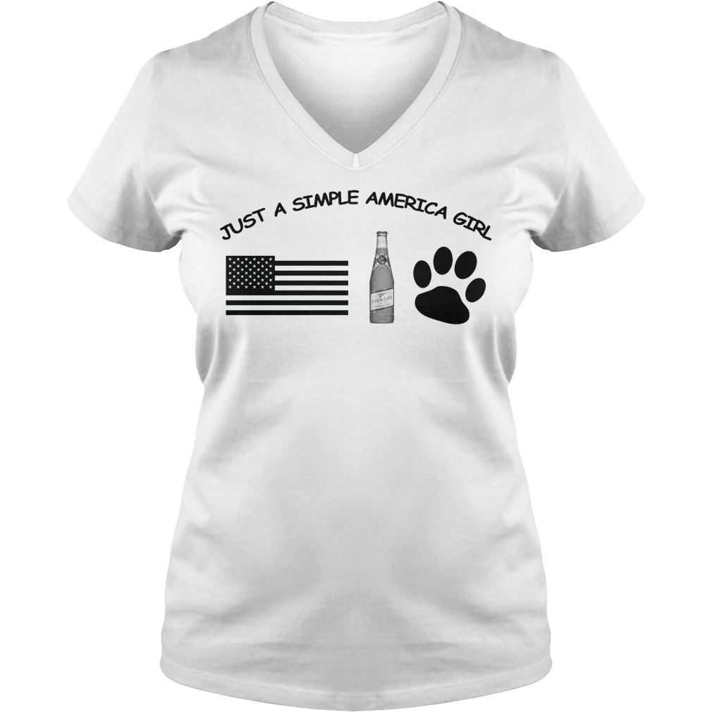 Just a simple American girl - America Miller High Life and Dog Leg V-neck t-shirt