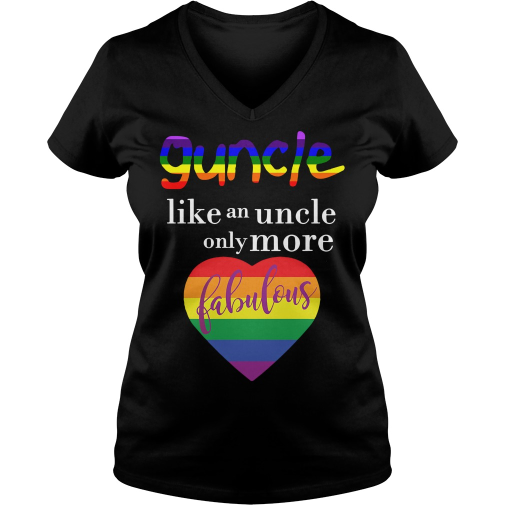 LGBT Guncle like an uncle only more fabulous V-neck t-shirt