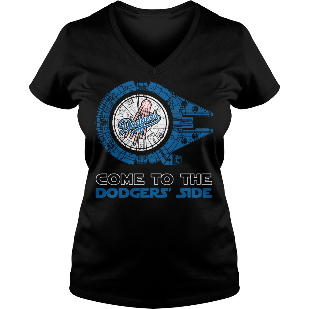 Los Angeles Dodgers Millennium Falcon come to the Dodgers' side V-neck t-shirt