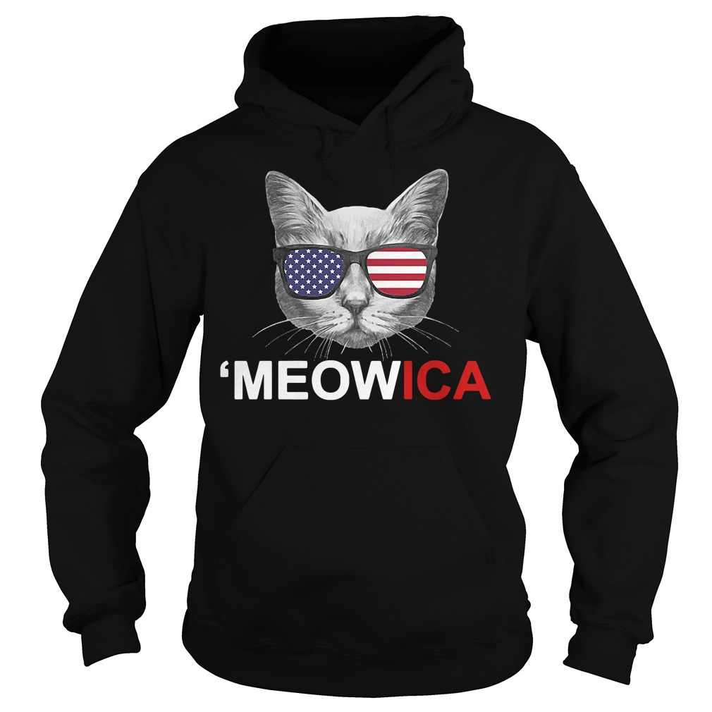 Meowica 4th of July American Flag Independence Day Hoodie