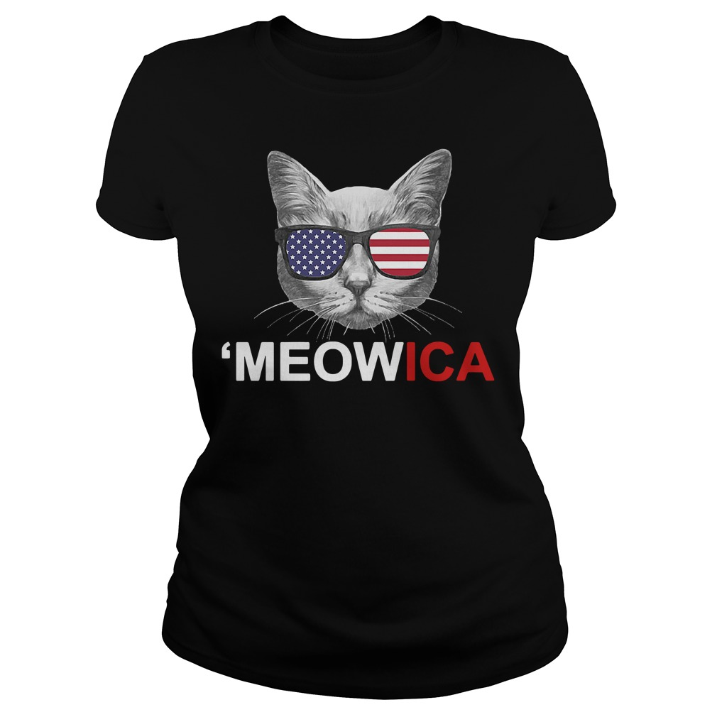 Meowica 4th of July American Flag Independence Day Ladies tee