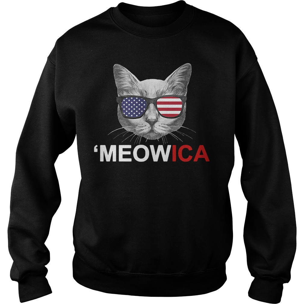Meowica 4th of July American Flag Independence Day Sweater