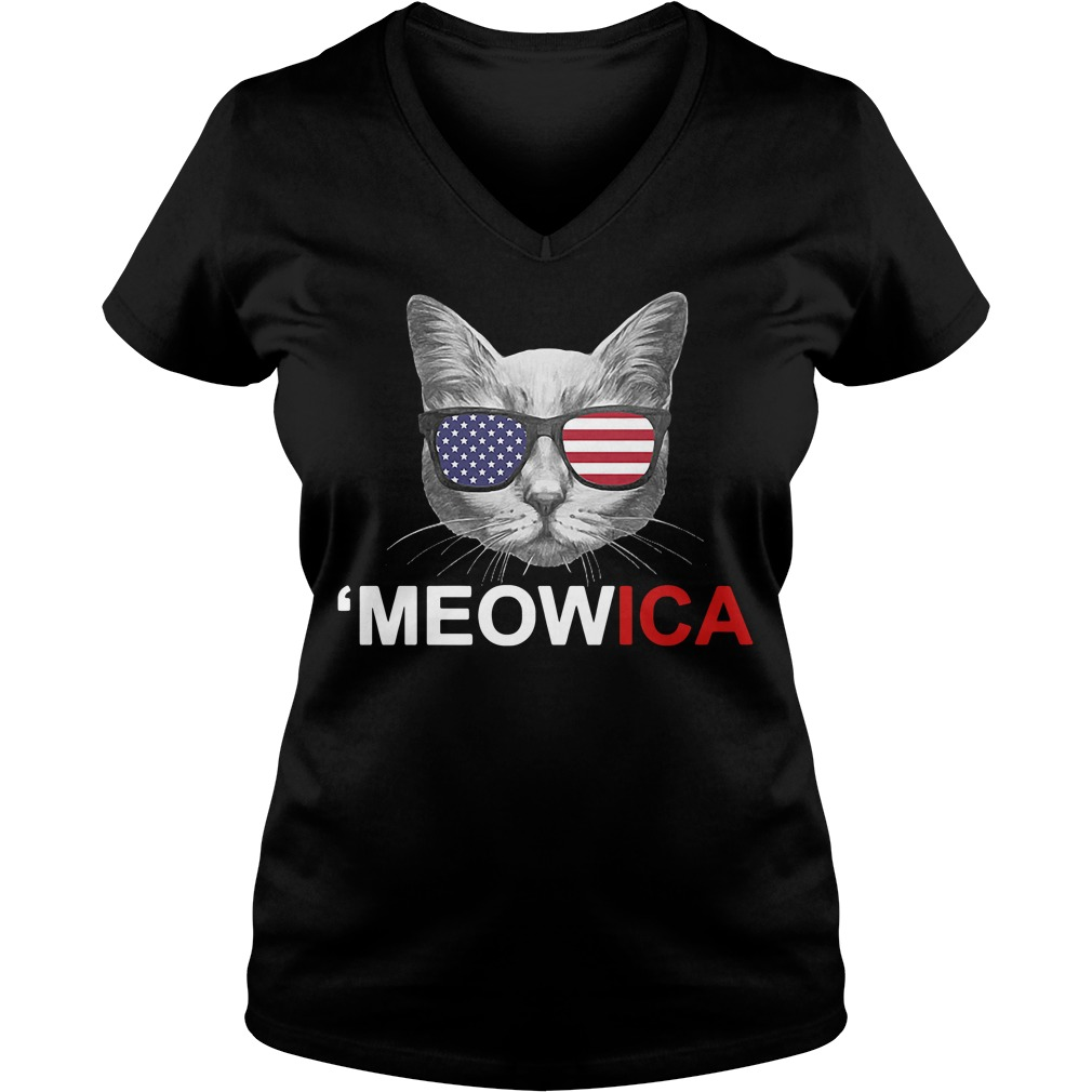 Meowica 4th of July American Flag Independence Day V-neck t-shirt