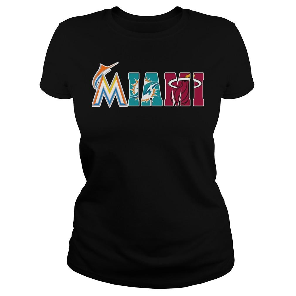 Miami Fans: Miami Marlins Miami Dolphins Miami Heat Ladies tee