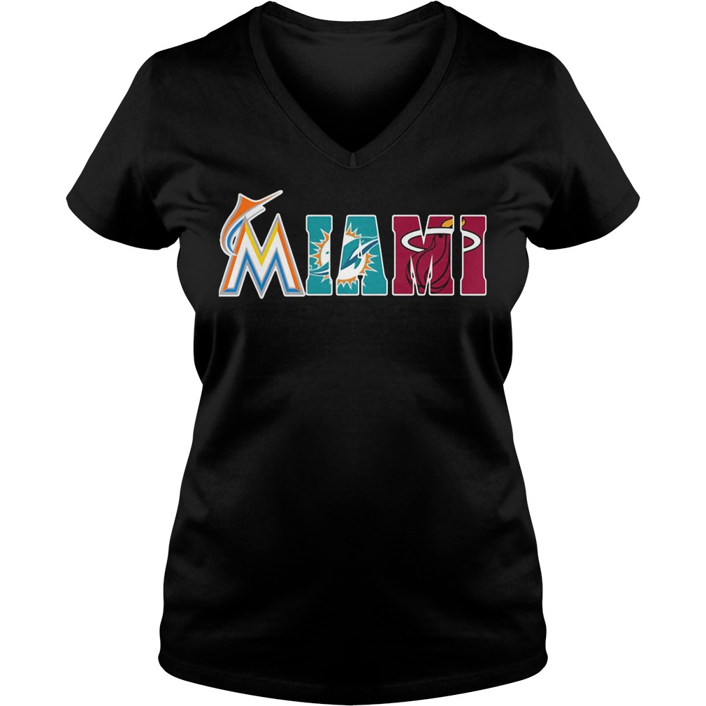 Miami Fans: Miami Marlins Miami Dolphins Miami Heat V-neck t-shirt
