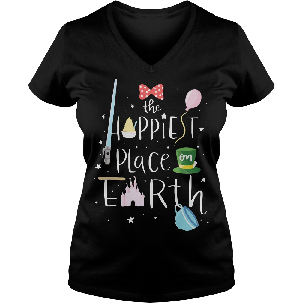 Mickey the happiest place on earth V-neck t-shirt