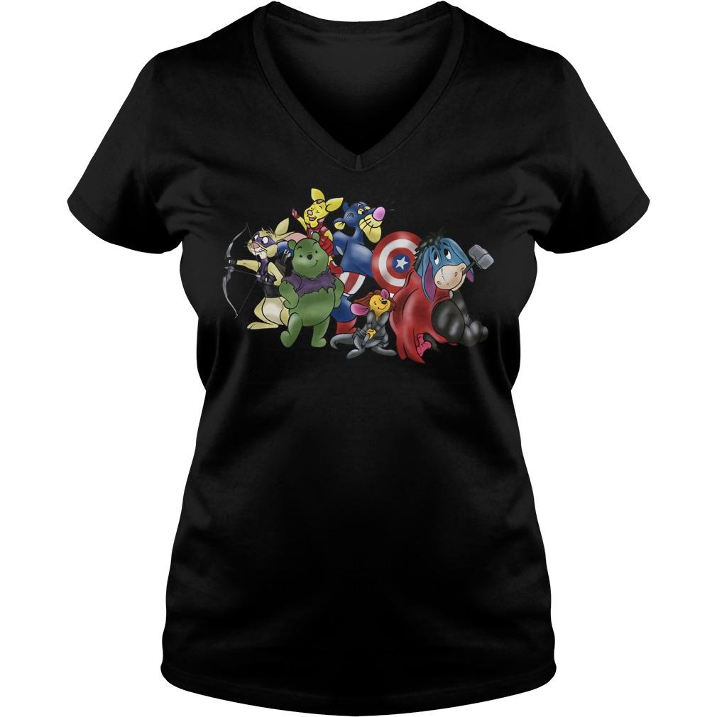 New Avengers - Winnie the Pooh friends crewneck V-neck t-shirt