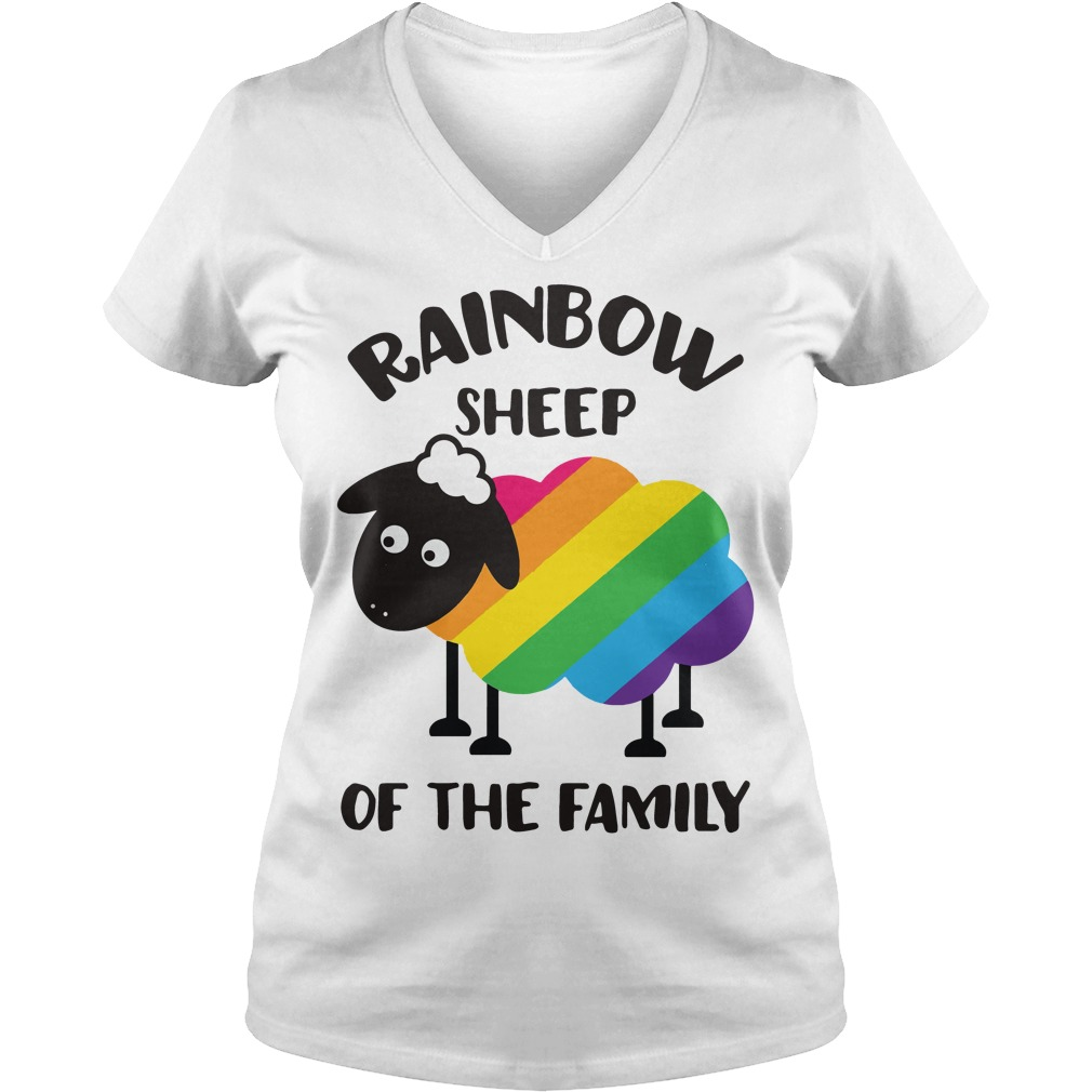 LGBT Rainbow sheep of the family V-neck t-shirt