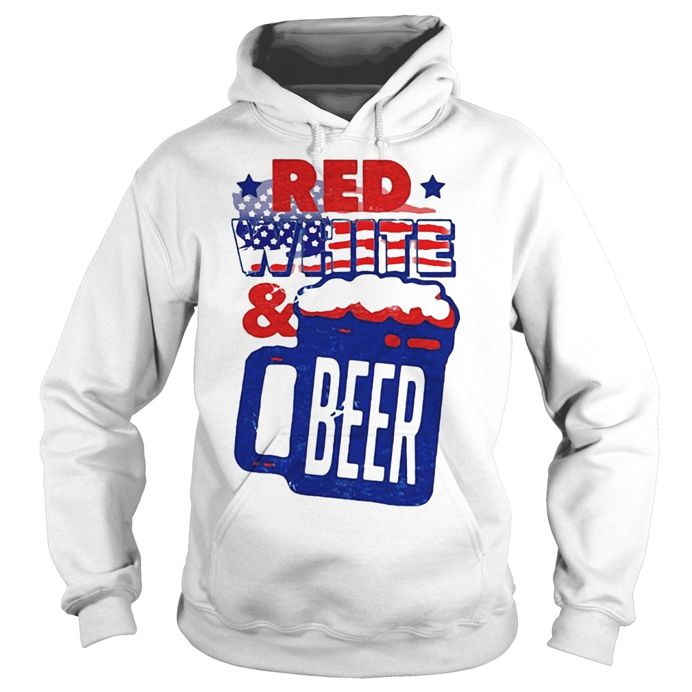 American Flag Red White and Beer Hoodie