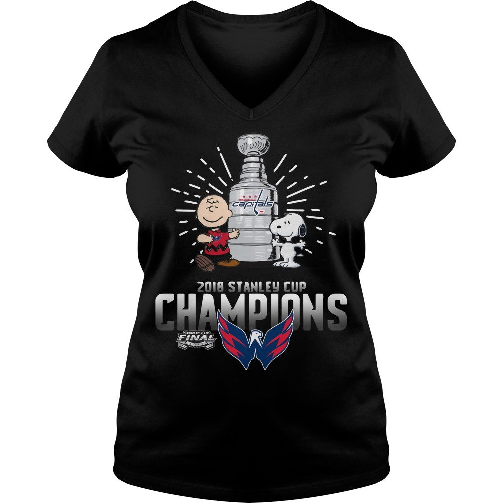 Snoopy and Charlie Brown 2018 Stanley Cup Champions Washington Capitals V-neck t-shirt