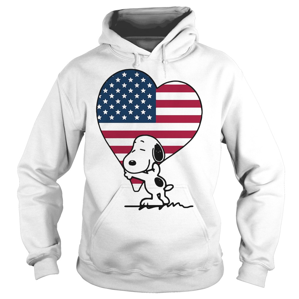 Snoopy hug American Flag Heart Independence Day Hoodie