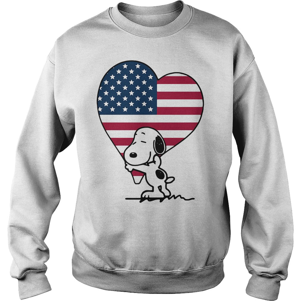 Snoopy hug American Flag Heart Independence Day Sweater