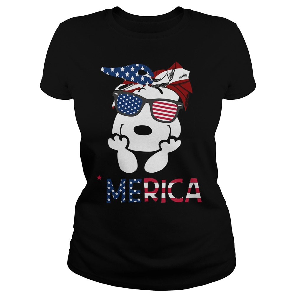 Snoopy Merica 4th of July American Flag Independence Day Ladies tee