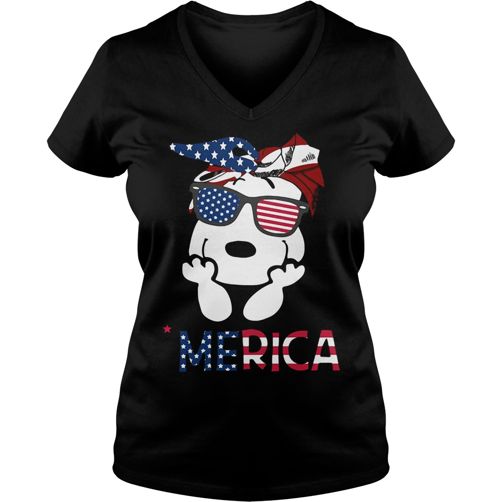 Snoopy Merica 4th of July American Flag Independence Day V-neck t-shirt