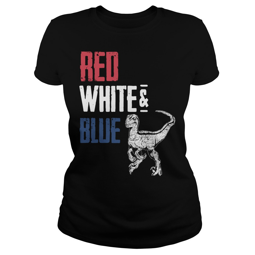 T-Rex Red White and Blue Ladies tee