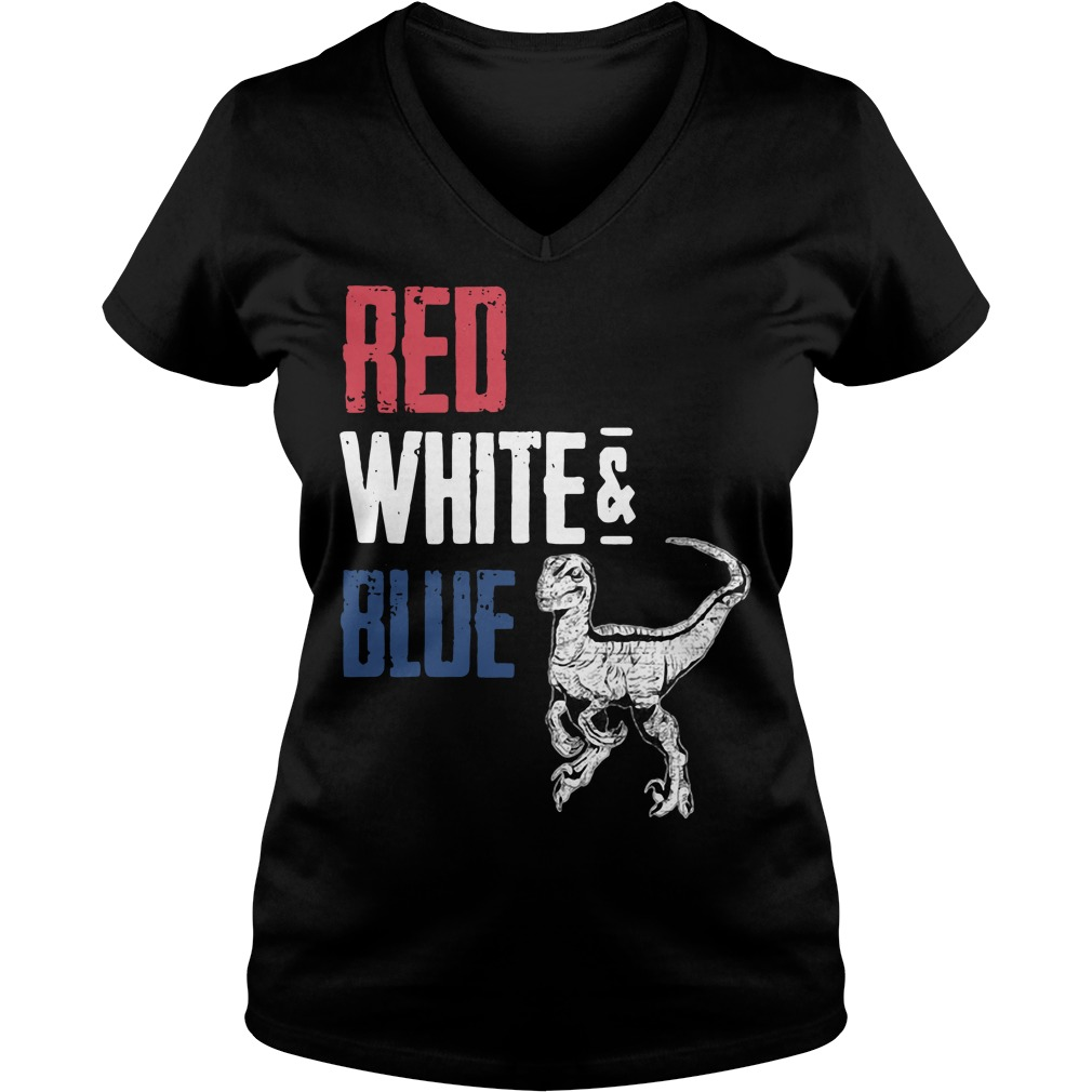 T-Rex Red White and Blue V-neck t-shirt