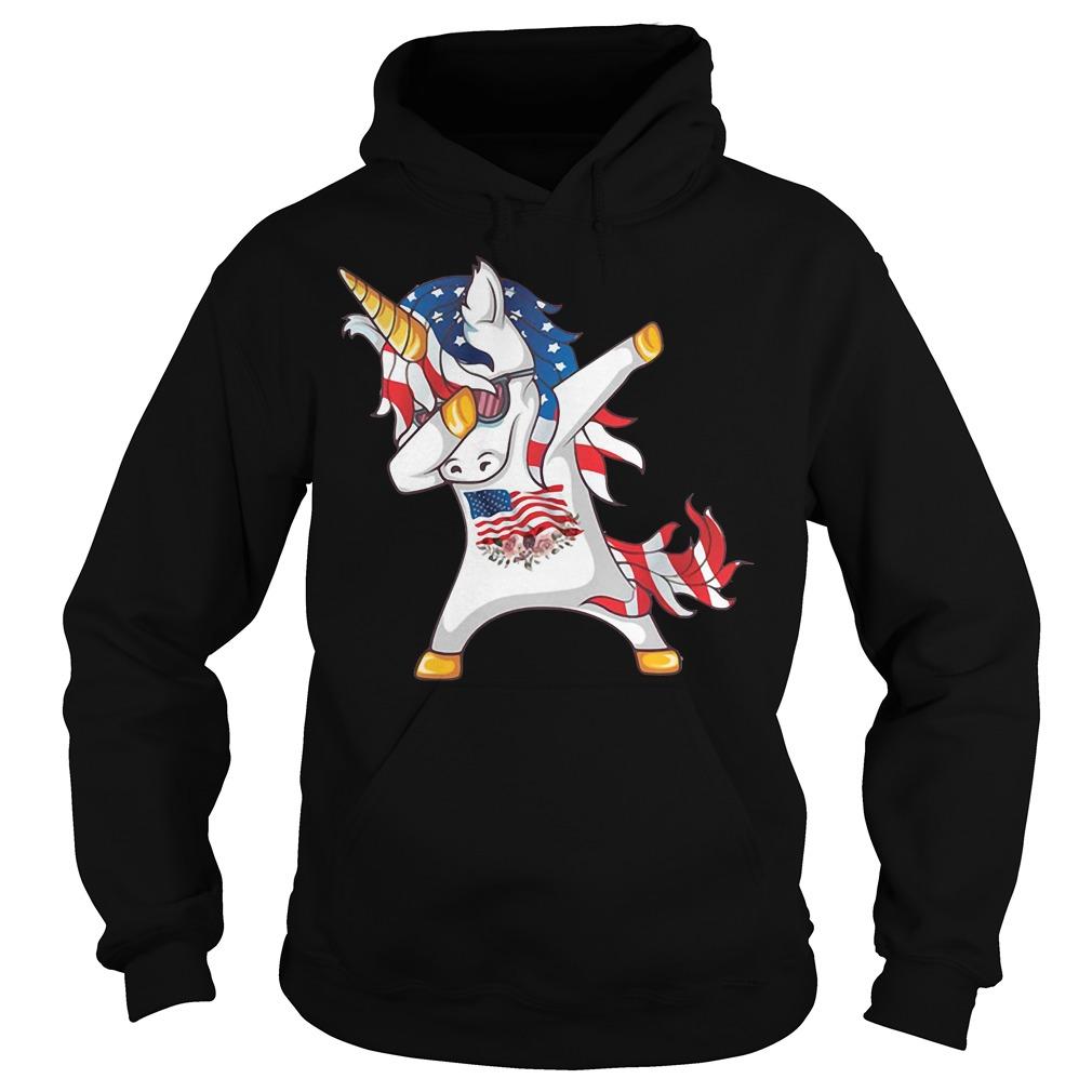 Unicorn Dabbing American Flag Hoodie