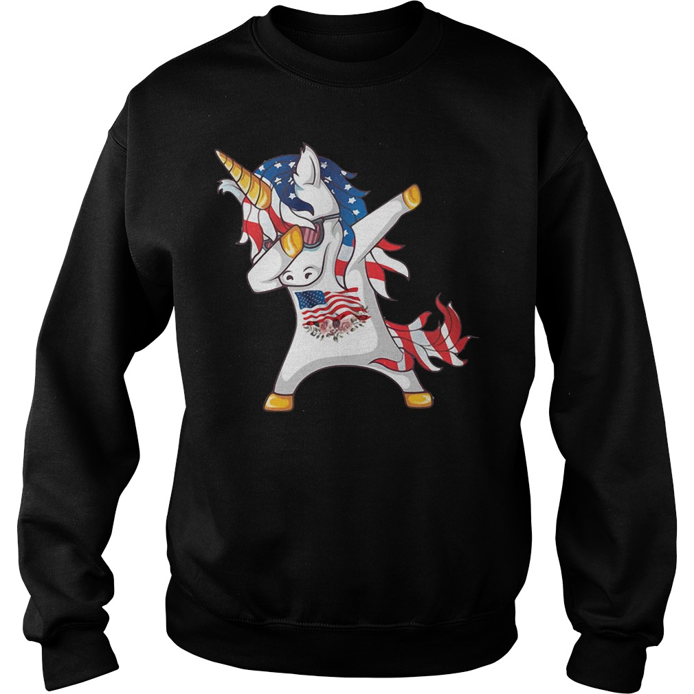 Unicorn Dabbing American Flag Sweater