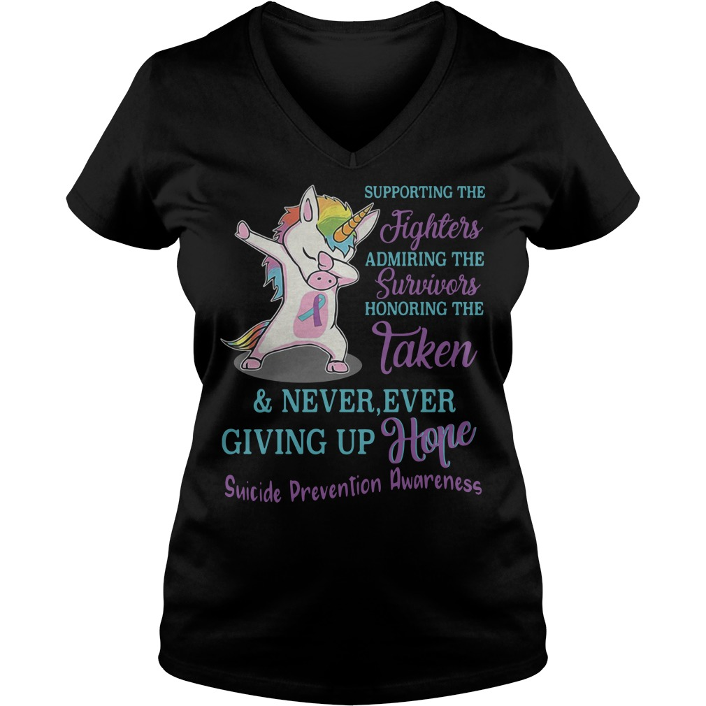 Unicorn Dabbing supporting the fighters admiring the survivors V-neck t-shirt