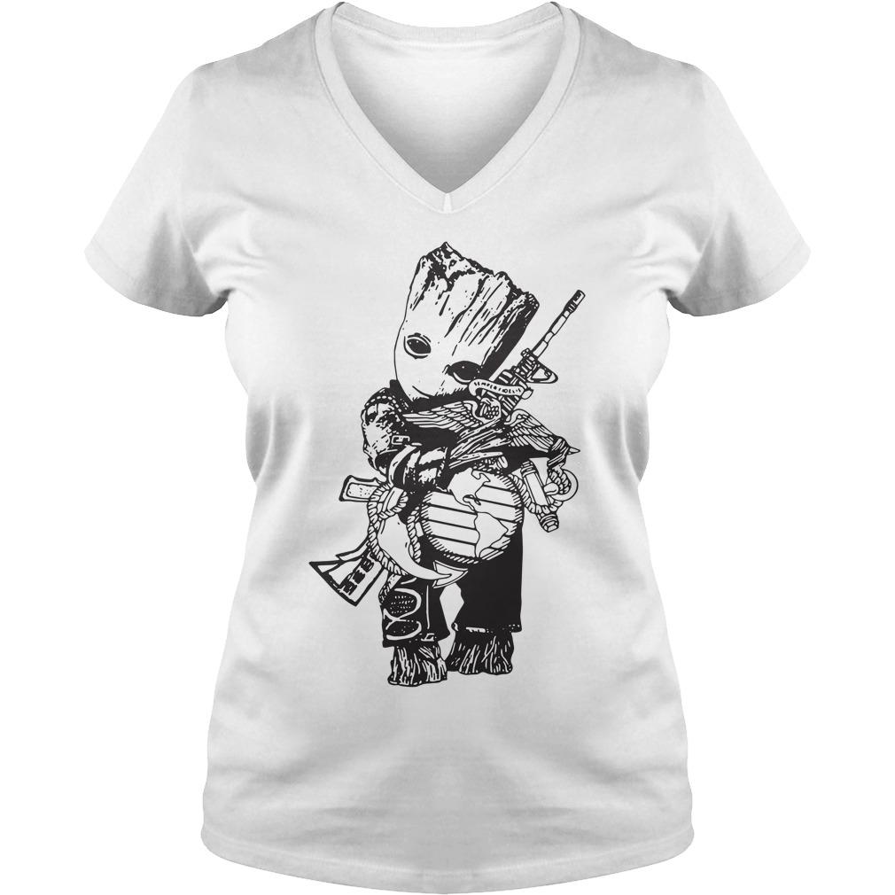 Veteran Baby Groot hug Eagle Globe Anchor V-neck t-shirt
