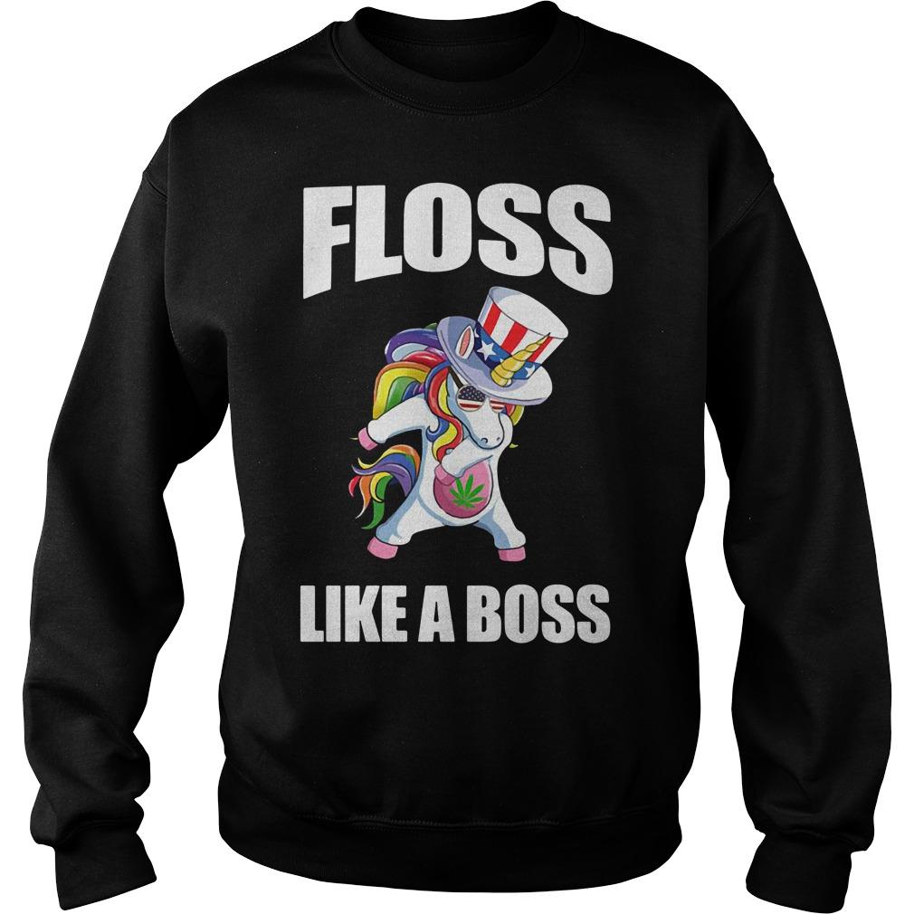 Weed floss like a boss Unicorn American Flag Sweater