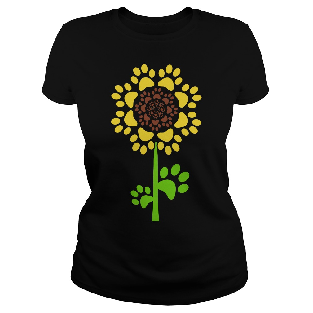 Dog paw and sunflower Ladies tee