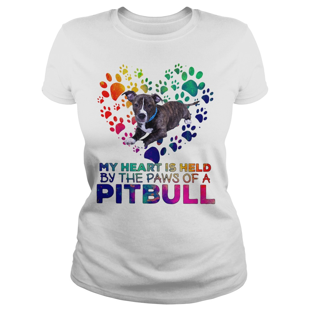 My heart is held by the paws of a pit bull Ladies tee