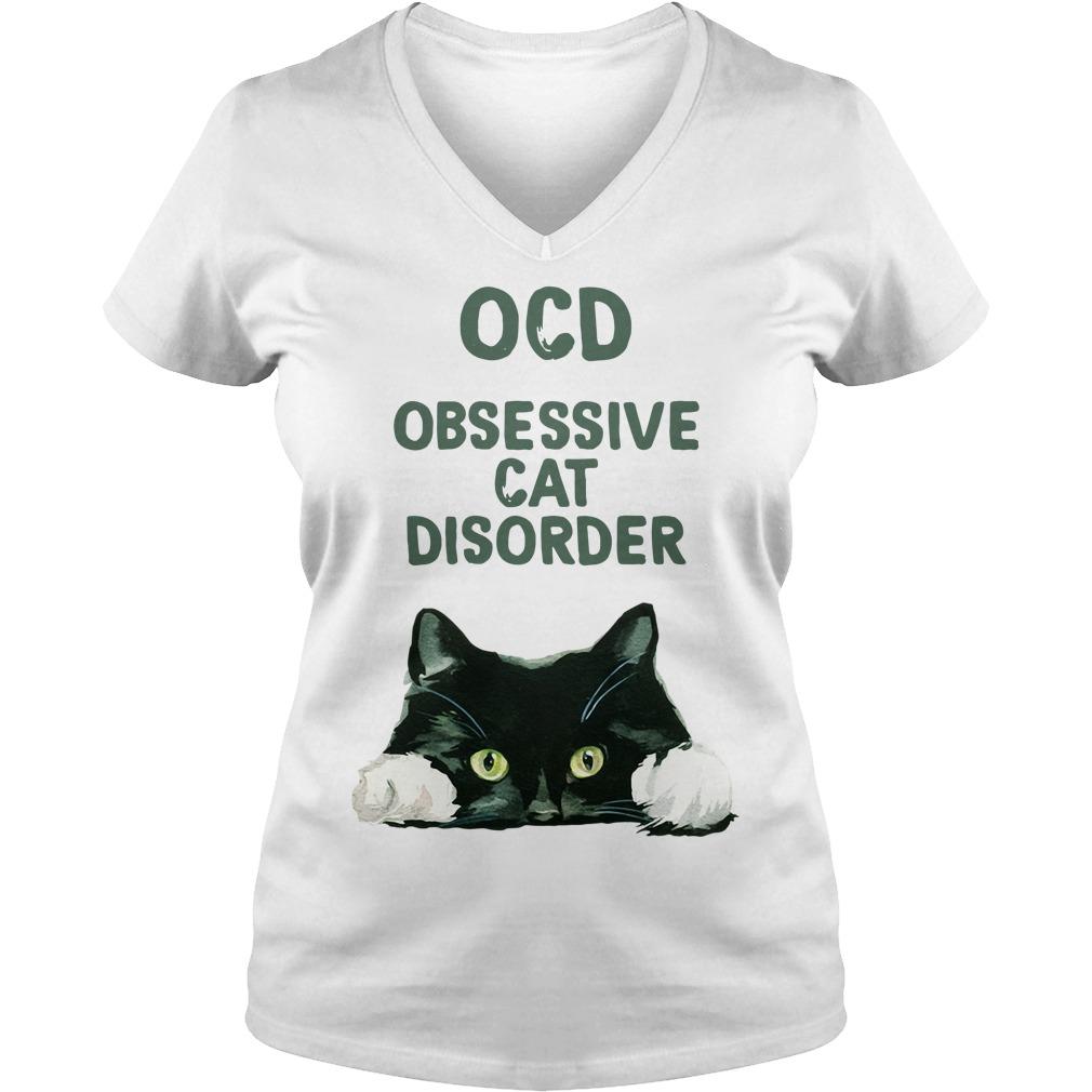 OCD obsessive cat disorder V-neck T-shirt