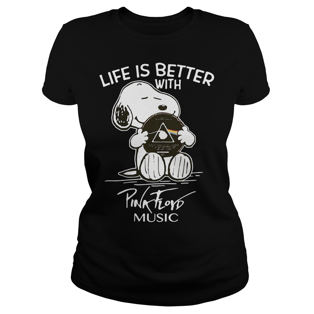 Snoopy life better with Pink Floyd music Ladies tee