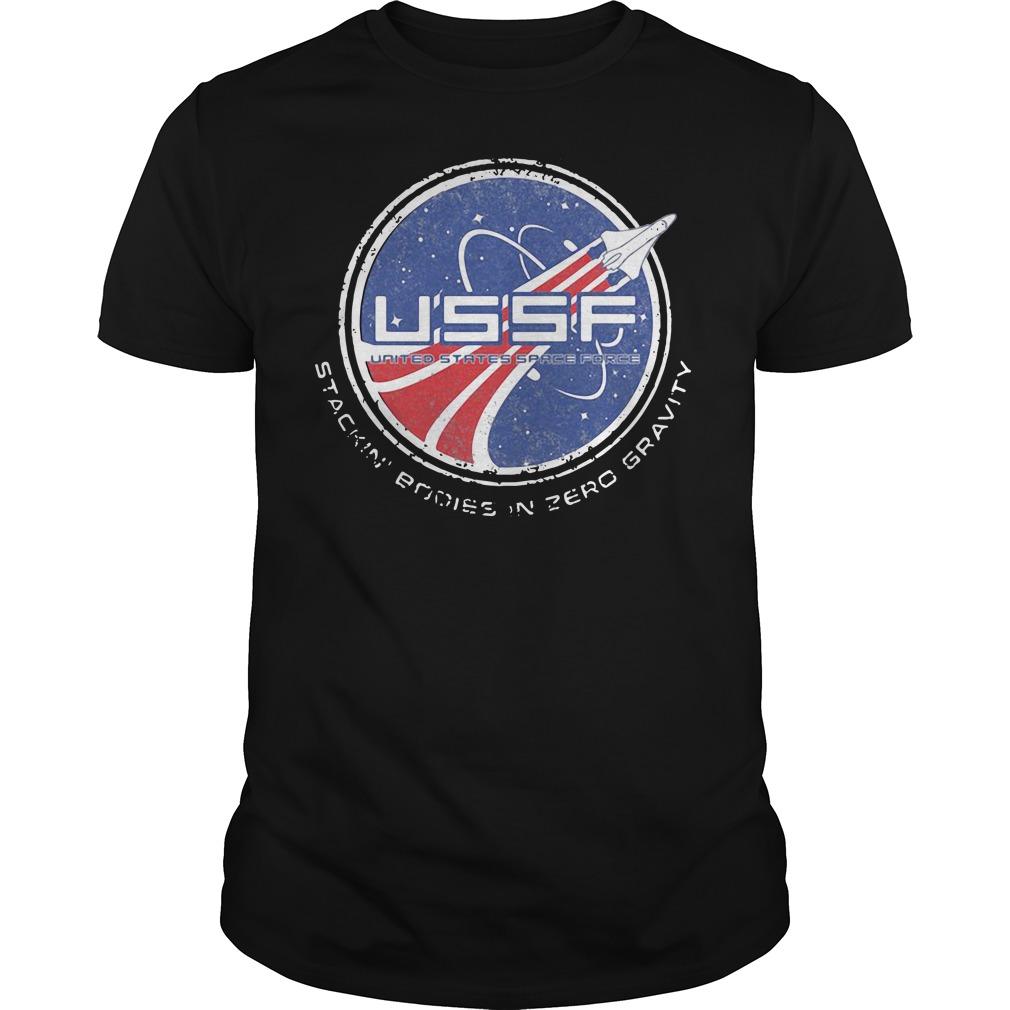 Stackin' Bodies in zero gravity Guys shirt