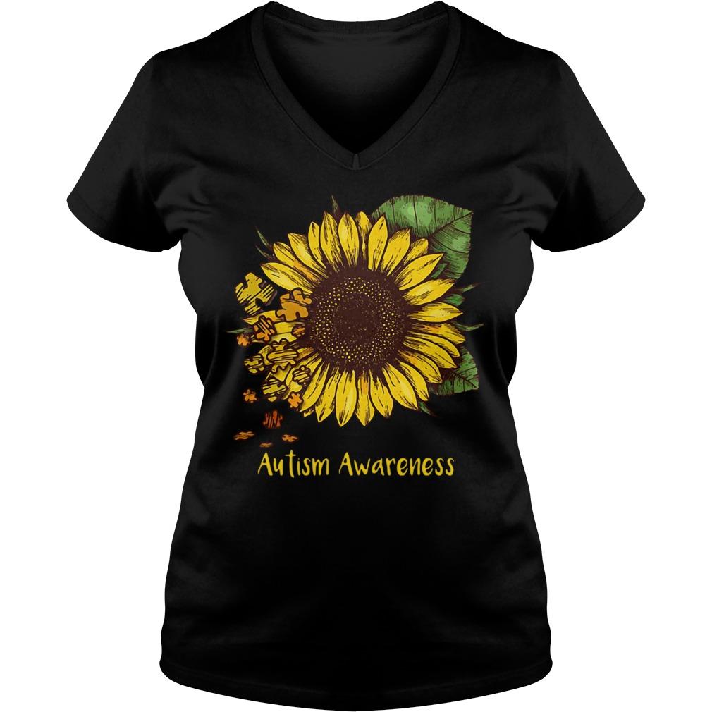 Sunflower autism awareness V-neck T-shirt