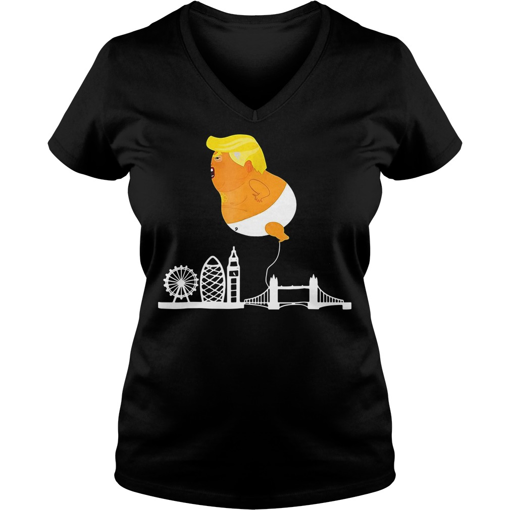 Trump with Baby Blimp V-neck t-shirt