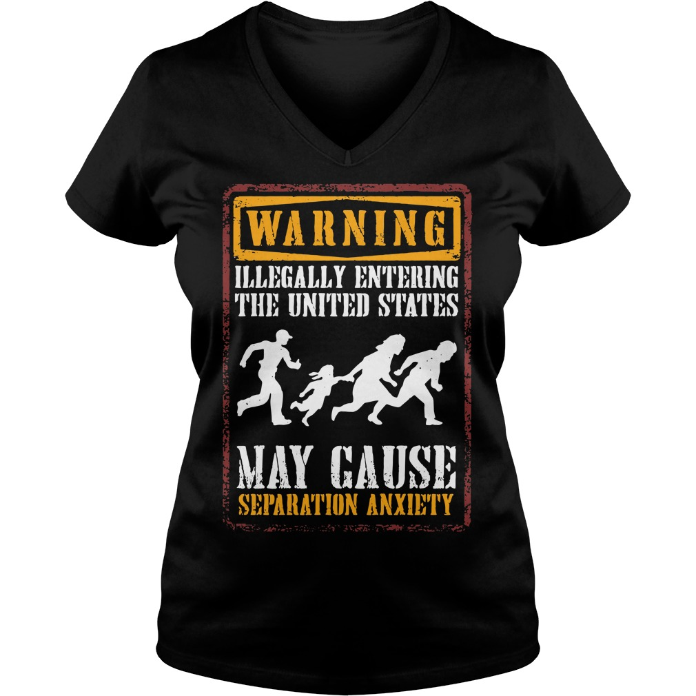 Warning illegally entering the united states V-neck T-shirt