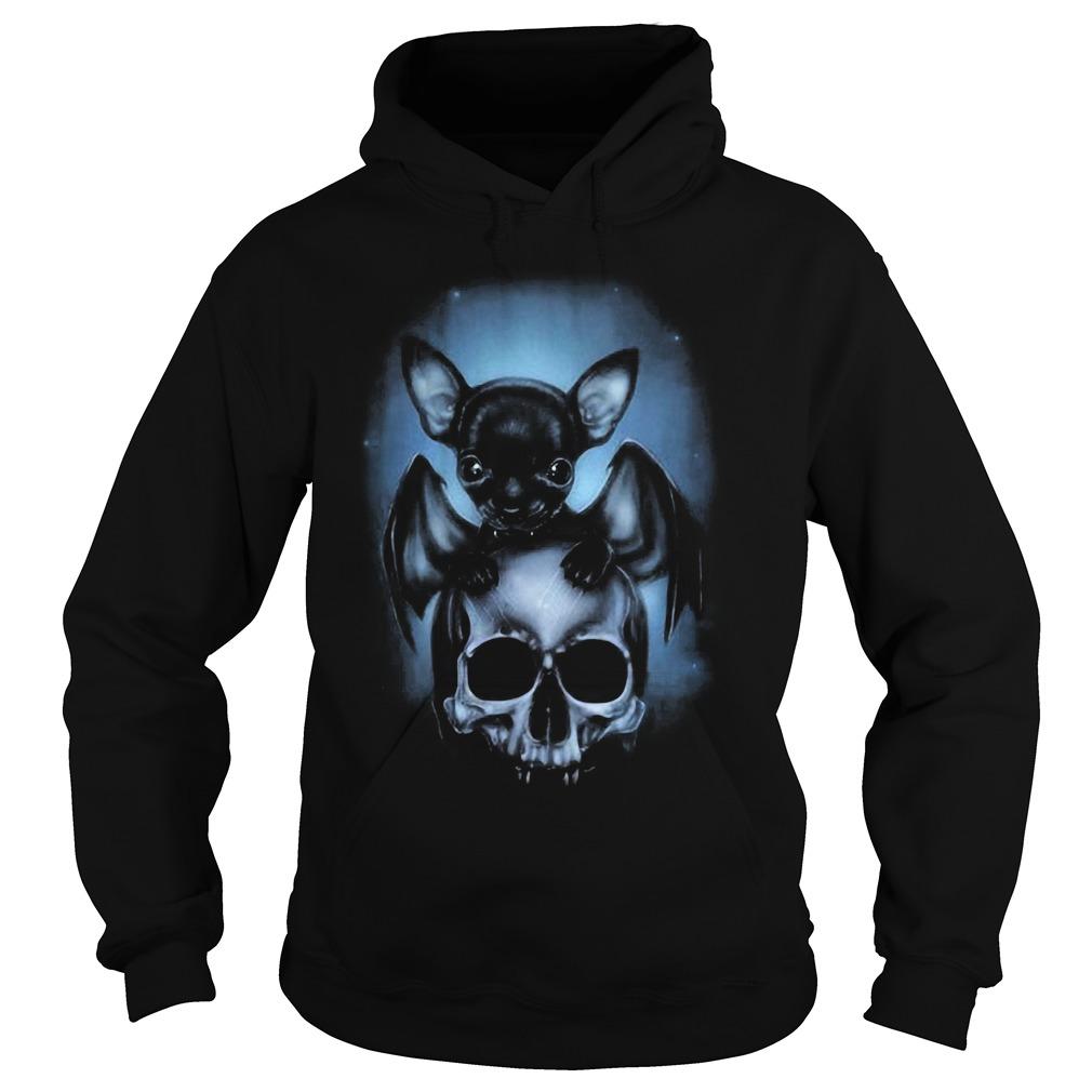 2018 Bat Chihuahua and skull Hoodie