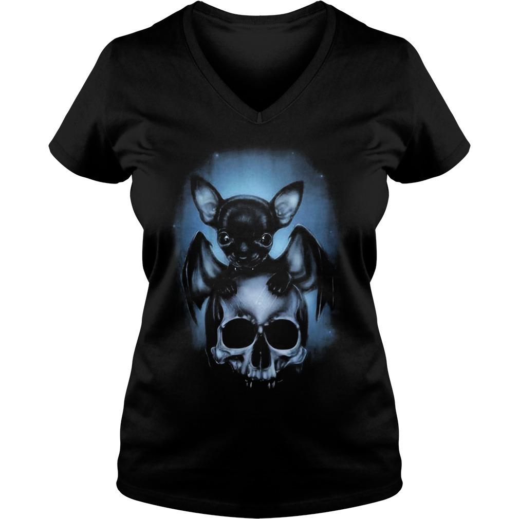 2018 Bat Chihuahua and skull V-neck T-shirt