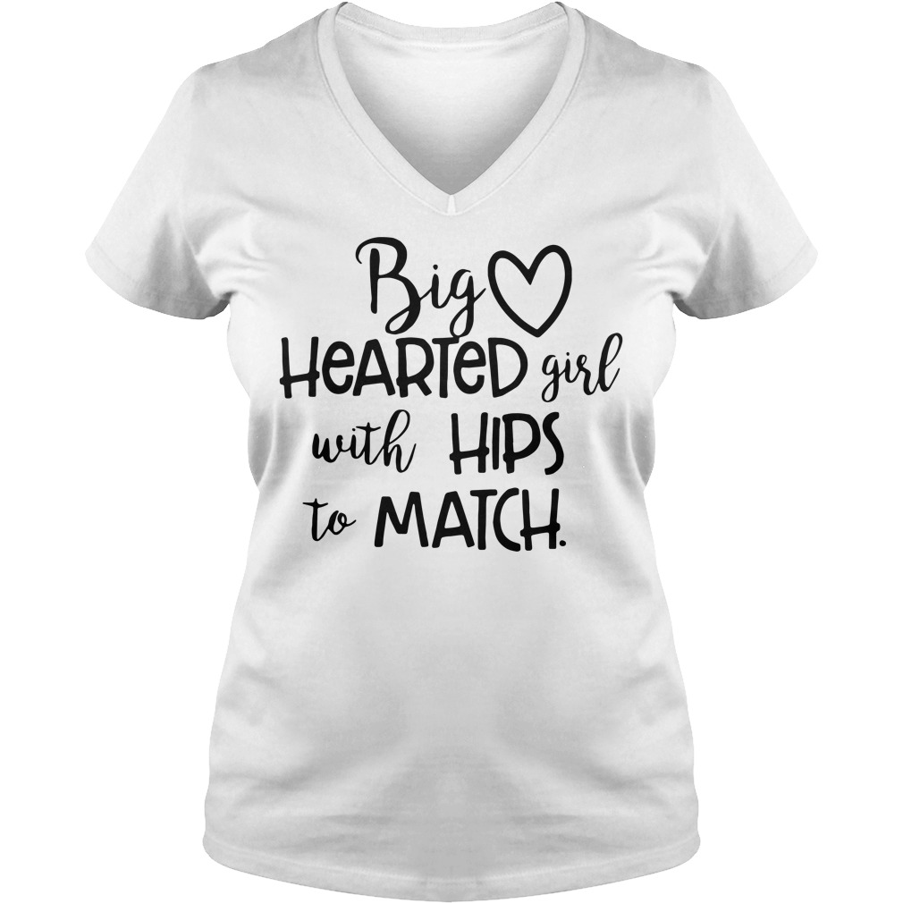 Big hearted girl with hips to match V-neck T-shirt