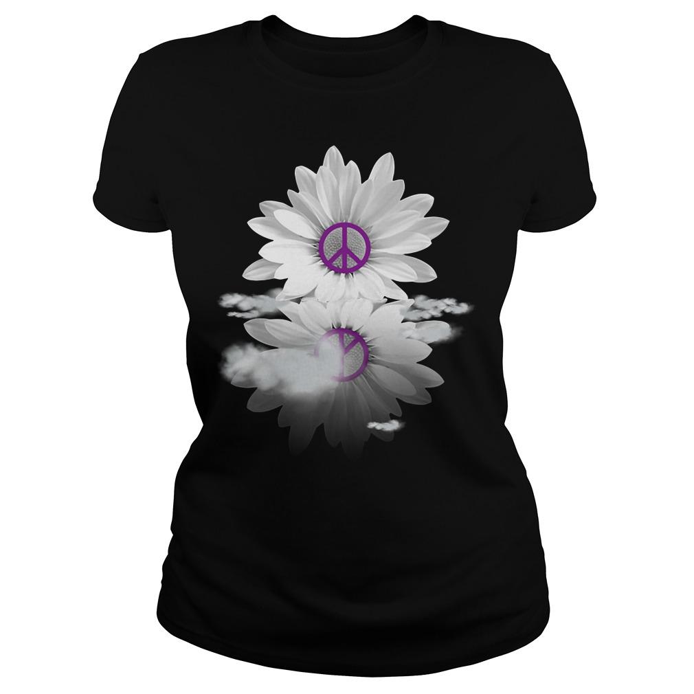 Black and white daisy captured Hippie flower Ladies tee