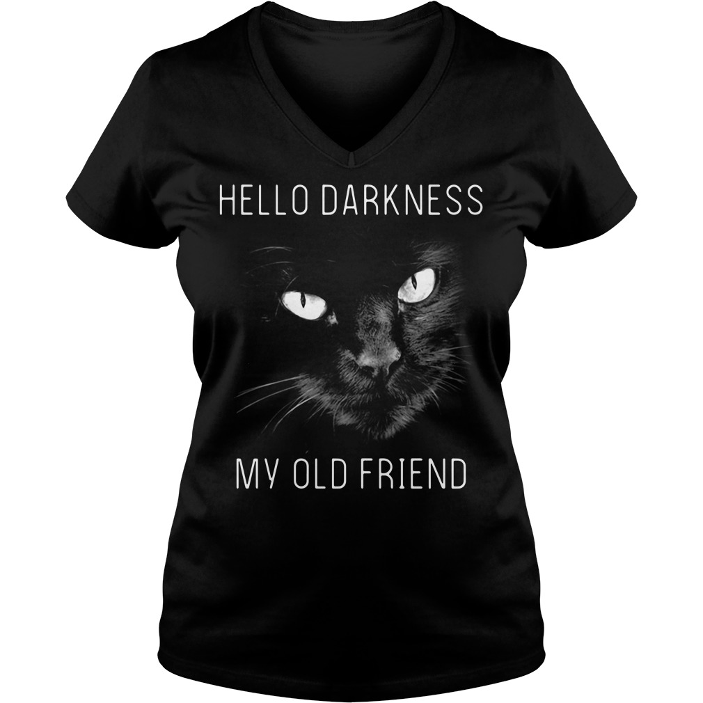 Cat hello darkness my old friend V-neck T-shirt