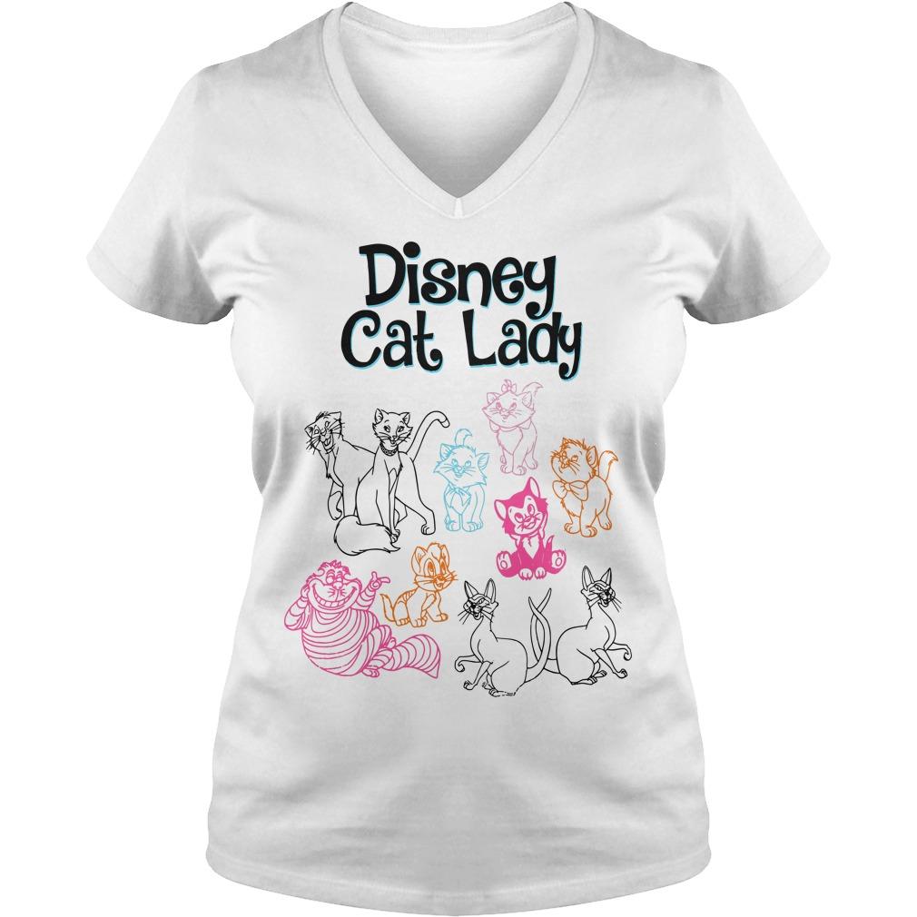 Disney Cats Lady V-neck T-shirt