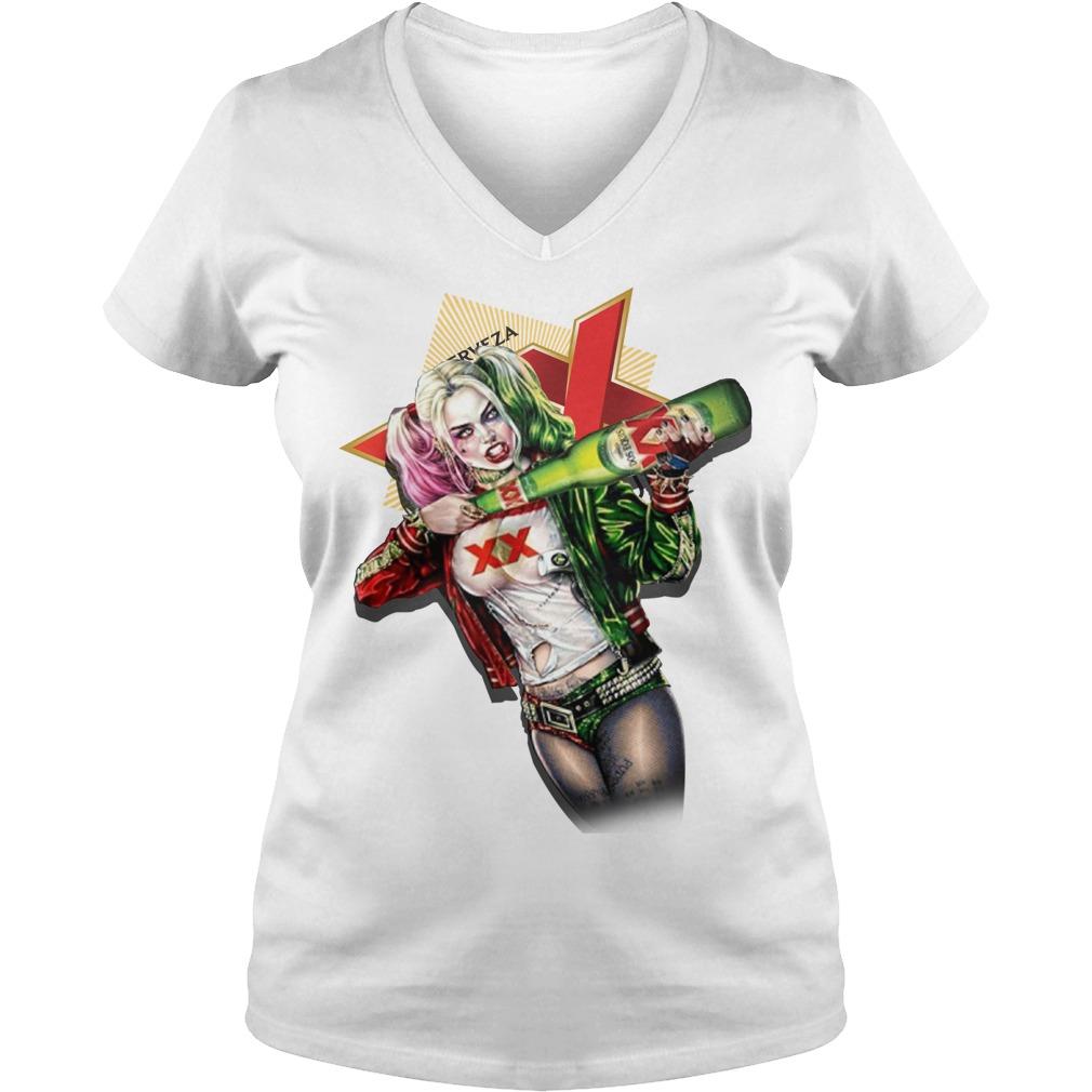 Harley Quinn Dos Equis V-neck T-shirt
