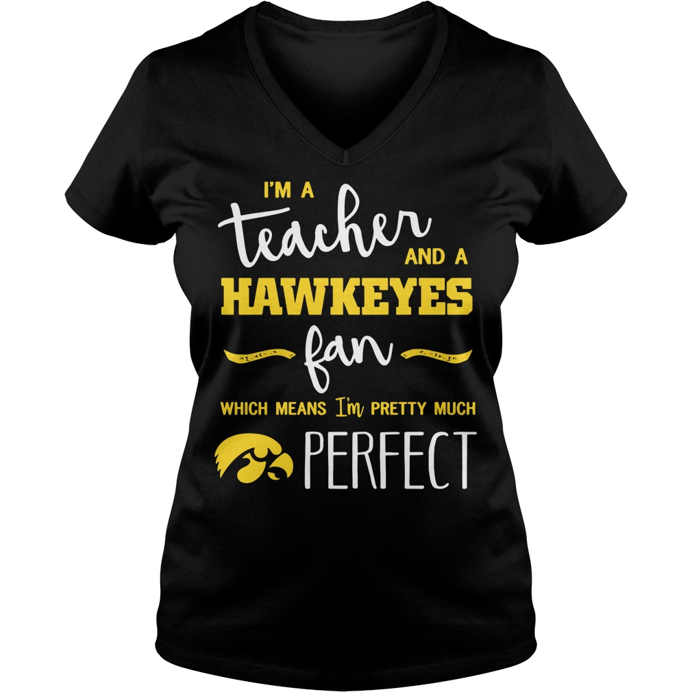I'm a teacher and a Hawkeyes fan which means I'm pretty much perfect V-neck T-shirt