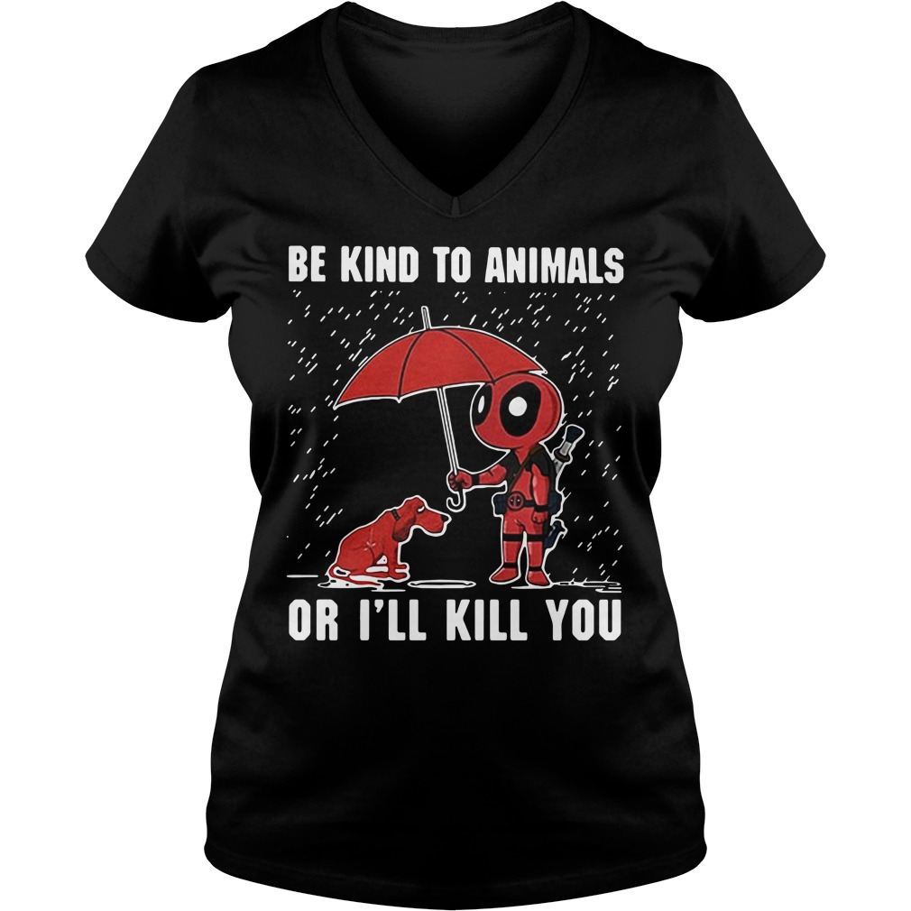LGBT Deadpool Be kind to animals or I'll kill you V-neck T-shirt