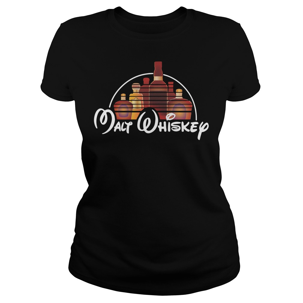 Malt Whiskey not Walt Disney Ladies tee