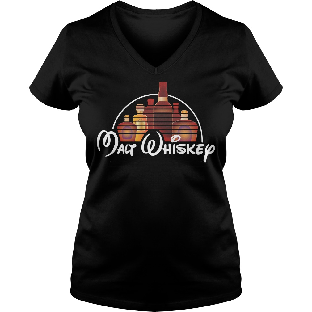 Malt Whiskey not Walt Disney V-neck T-shirt